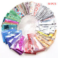 50PCS DIY Nail Art Transfer Foil Sticker For Nail Tip Decoration & Star Set US