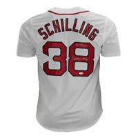 Curt Schilling Signed Boston Strong Boston White Baseball Jersey (JSA)