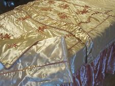 ANTIQUE HOLLYWOOD REGENCY DECO 1930S 4 PC FULL SZ EMBROIDERY SATIN BEDDING SUITE