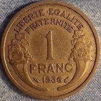 PIÈCE MONNAIE 1 FRANCS  BRONZE 1936     Ref : 00108