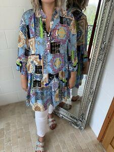 Dress Smock Tunic Baroque Print Bell Sleeves Fits 12 14 16 18 20 Powder Blue