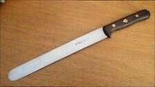 Vintage HERDER Carbon Steel Chef's Round-tip Slicing Knife w/Spade Inlay Handle