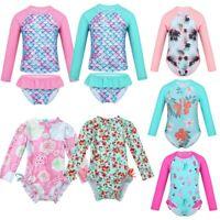 Baby Kid Girls Long Sleeves Swimsuit Swimwear UV Protection Beachwear Rash Guard