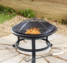 "20"" FOLDING FIRE PIT LOG HEATER BBQ +POKER PATIO FIRE BOWL GARDEN OUTDOOR BLACK"