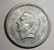 Piece de 2 Francs 1943 Monaco. Prince Louis II. Alu   KM121  Aca967