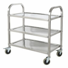 3-Tire Stainless Steel Kitchen Restaurant Utility Cart Rolling Serving Transport