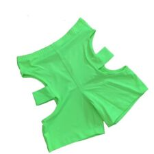 NEON GREEN CYCLING SHORTS WITH OPEN SIDES CUT OUT SHORTS CYCLING SHORTS