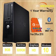FAST DELL DUAL CORE PC COMPUTER DESKTOP TOWER WINDOWS 10 WIFI 8GB RAM 500GB HDD