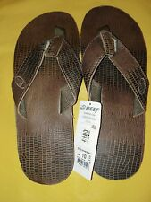 Men's Reef Sandal Flip Flop Leather Smoothy Brown Iguana Size 10 New