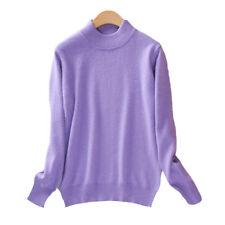 Women's Slim Sweater Knitted Half-Turtleneck Soft Cashmere wool Jumper Pullover