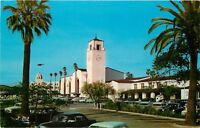 Chrome Postcard CA F660 Los Angeles Union Station Spanish Architecture Old Cars