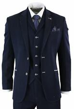 Mens Navy Blue Cream Stitch Tailored Fit 3 Piece Suit Smart Formal