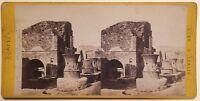 Pompei Italia Foto Stereo Vintage Albumina c1870