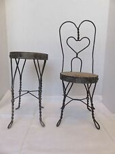"""Vintage Wicker Wire Chair Table Set Dollhouse Miniatures Large Scale 9""""Tall Prop"""
