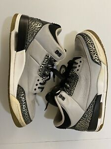 Nike Air Jordan 3 Retro Wolf Grey Men's Size 13 Black White Silver