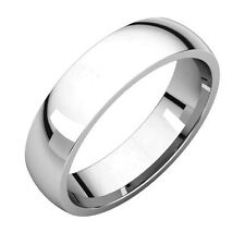 Solid 14K White Gold  5 MM Size 9 Comfort Fit Wedding Ring Band Mens Womens