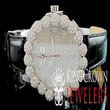 White Gold Tone Simulate Diamond Mens Khronos Joe Rodeo Cluster Bezel Iced Watch