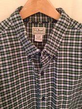 LL Bean Men's Green Blue White Plaid Long Sleeve Shirt, XL