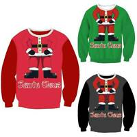 Weihnachten Damen Herren Langarm Sweatshirt Pullover Ugly Pulli Jumper Xmas Tops