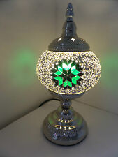 Turkish LED Lamp Moroccan Light Superior Quality Mosaic Glass & 'SILVER' Base