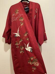 Glorious. Red  Satin Silky Novelty Hand-embroidered Cranes Japanese Robe Kimono