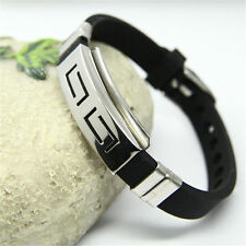 Men's Black Cool Rubber Stainless Steel Wristband Clasp Cuff Bangle Bracelet New