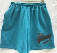 Vtg 80s REEBOK THE PUMP Mens Shorts Sz XL 50/50 Blend Turquoise Made Canada