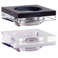 Glas Einbaustrahler Einbaurahmen Einbauleuchte GU10 230V GX5,3 12V LED MR16 914