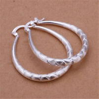 Lady Cute Fashion Silver 925 Earrings Hoop Women Wedding Party Earrings Jewelry