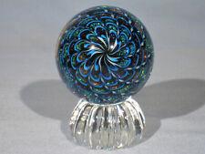 Marbles: Hand Made Art Glass Alloway Dichroic Aquamarine  #3145     2.48inch