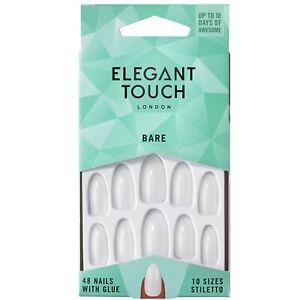 Elegant Touch 48 x Bare STILETTO False Nail Tips & Glue Moisture Free For Polish