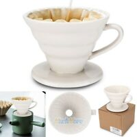 White Coffee Dripper,Ceramic Pour Over Coffee Maker Filter for Single Brew Size