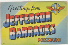 Large Letter Postcard,Greetings from Jefferson Barracks,Missouri.WW II,Used,1946