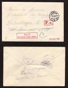 AX19 FELDPOST 1.WK 1915 Kriegsgefangenenpost Lager Döbeln