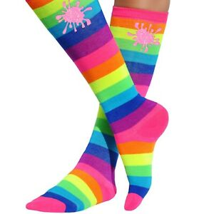Slime Birthday Party Favors Knee High Socks Neon Rainbow Striped Leggings Girls
