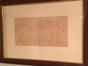 Mickey Mouse Story Board Production Drawing c. 1935 Disney Mat & Framed