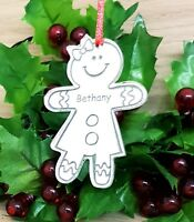 PERSONALISED GINGERBREAD LADY CHRISTMAS TREE DECORATION BAUBLE XMAS GIFT SILVER