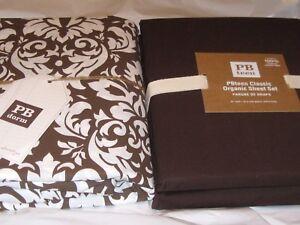 Pottery Barn Damask Duvet Cover Coffee Brown White & XL Twin Sheet Set NIP