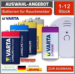 Varta 9V Block I Superlife I Longlife- Power I Max Power I Lithium l Rauchmelder