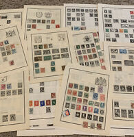 WORLDWIDE STAMP LOT ON ALBUM PAGES, STAMPS FROM OVER 20 WW COUNTRIES (NO U.S.)