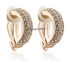 18K Rose Gold GP Clear Crystal Clip on Fashion Hoop Earring Q933
