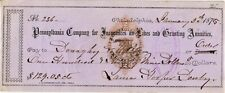 1875 CHECK BY PENN CO FOR INSURANCES ON LIVES & GRANTING ANNUITIES  RNH3 TAX ST