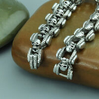 Punk Men's Jewelry Heavy 316L Stainless Steel Biker Skull Bracelet Chain 8.5""