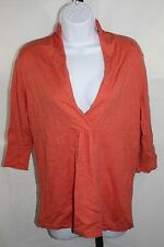Eileen Fisher Womens Cashmere Blend Sweater Orange 3/4 Slv Orange Shawl Collar M