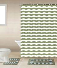 Striped Green & White 15-Piece Bathroom Accessory Set 2 Bath Mats Shower Curtain