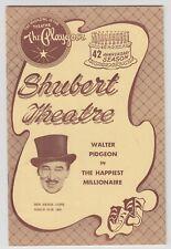 1958 Playgoer Program WALTER PIDGEON in THE HAPPIEST MILLIONAIRE Shubert Theatre