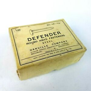 "Vintage Oakville Co. Defender No. 6R Round Head Paper Fasteners 1 1/2"" Shank USA"