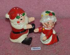Vintage Lefton Set Mr & Mrs. Santa Salt & Pepper Shakers.