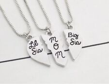 3 pc Mother Big Little Sis Sister Necklace Matching Heart Friendship Friend