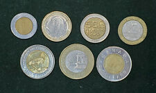 BIMETALLIC BI-METAL LOT 7 COINS COLLECTION HUNGARY UGANDA BULGARIA CANADA FRANCE